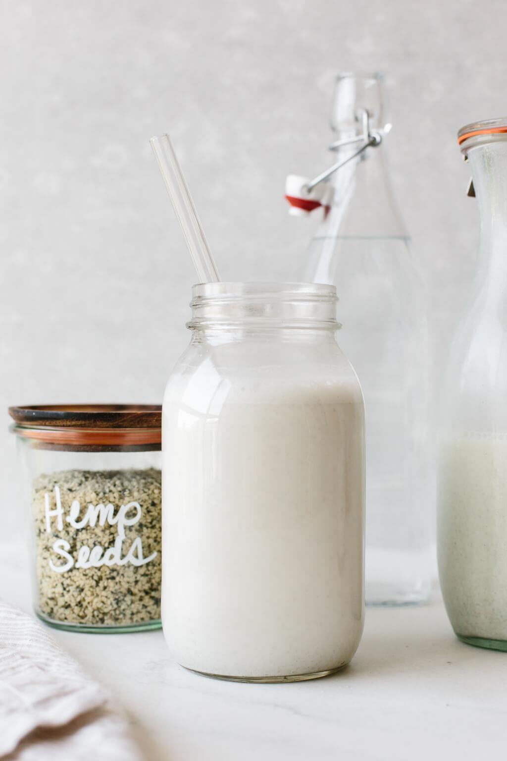 Hemp milk in a glass.