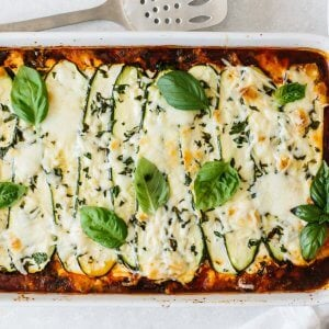 Zucchini lasagna in a casserole pan.