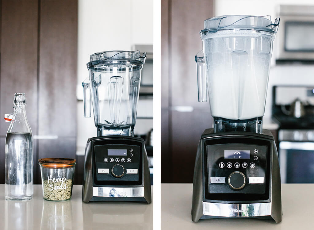 A bottle of water and jar of hemp seeds next to a blender.