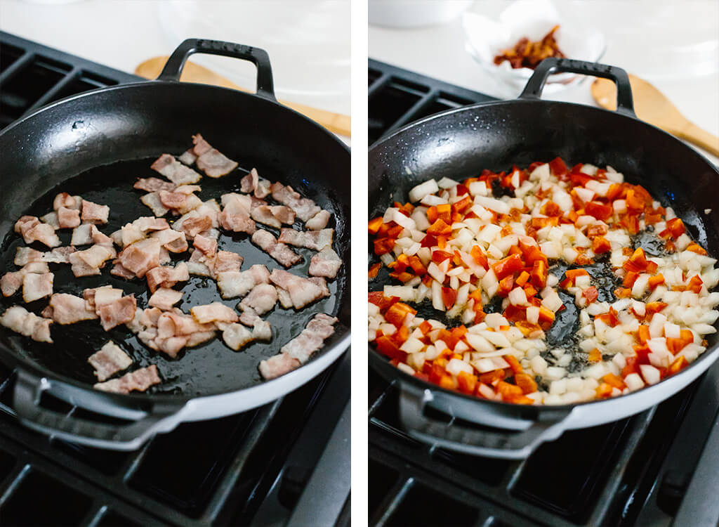 Sauteeing bacon, onions and bell peppers.