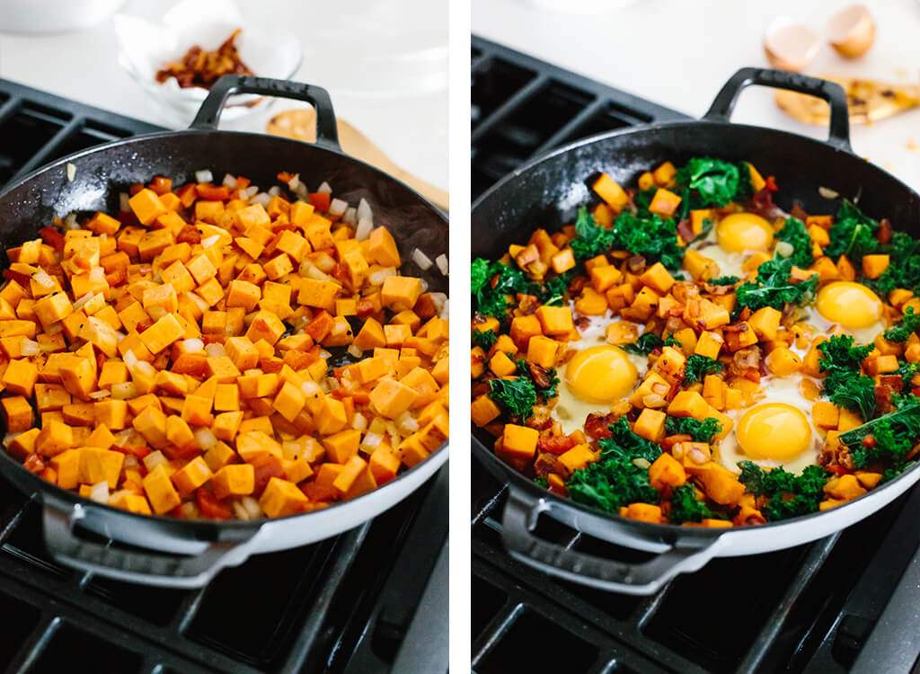 Sauteing sweet potato, kale and eggs for breakfast hash recipe.