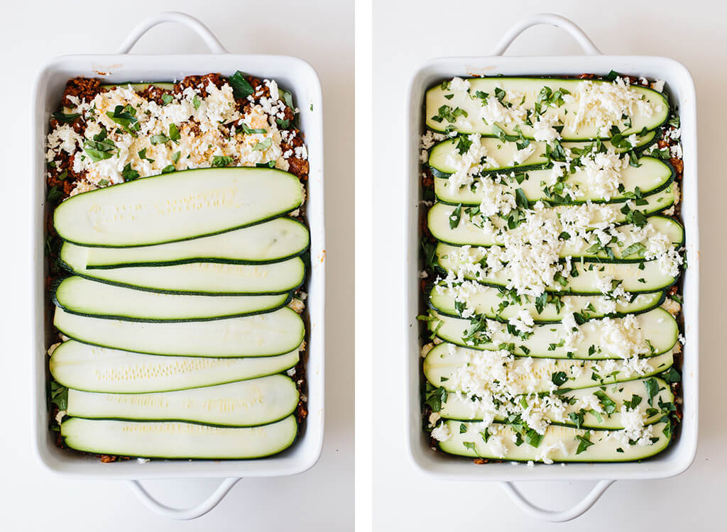 The next two steps of making zucchini lasagna.