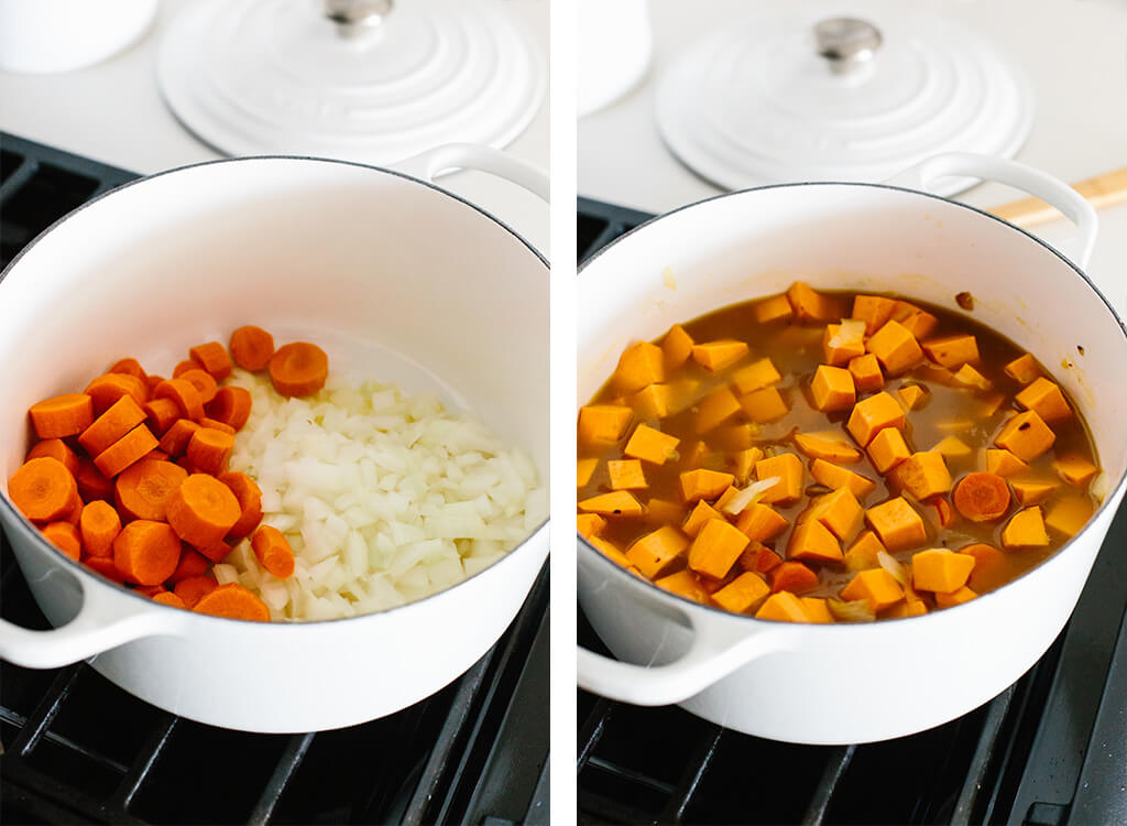 Making sweet potato soup in a pot on the stove.