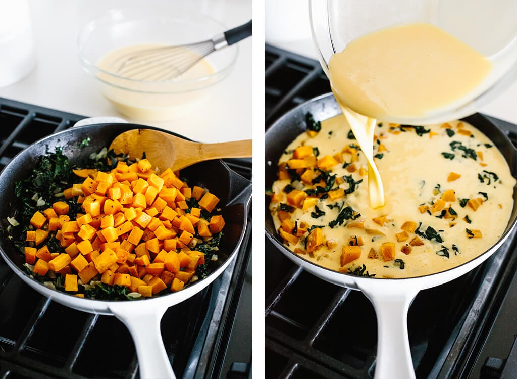 Sauteing butternut squash and pouring eggs into the frittata pan.