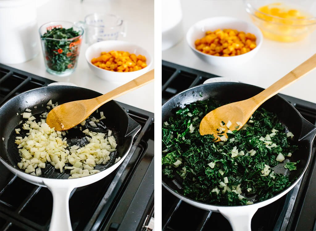 Sauteing onions, garlic and kale in a pan.