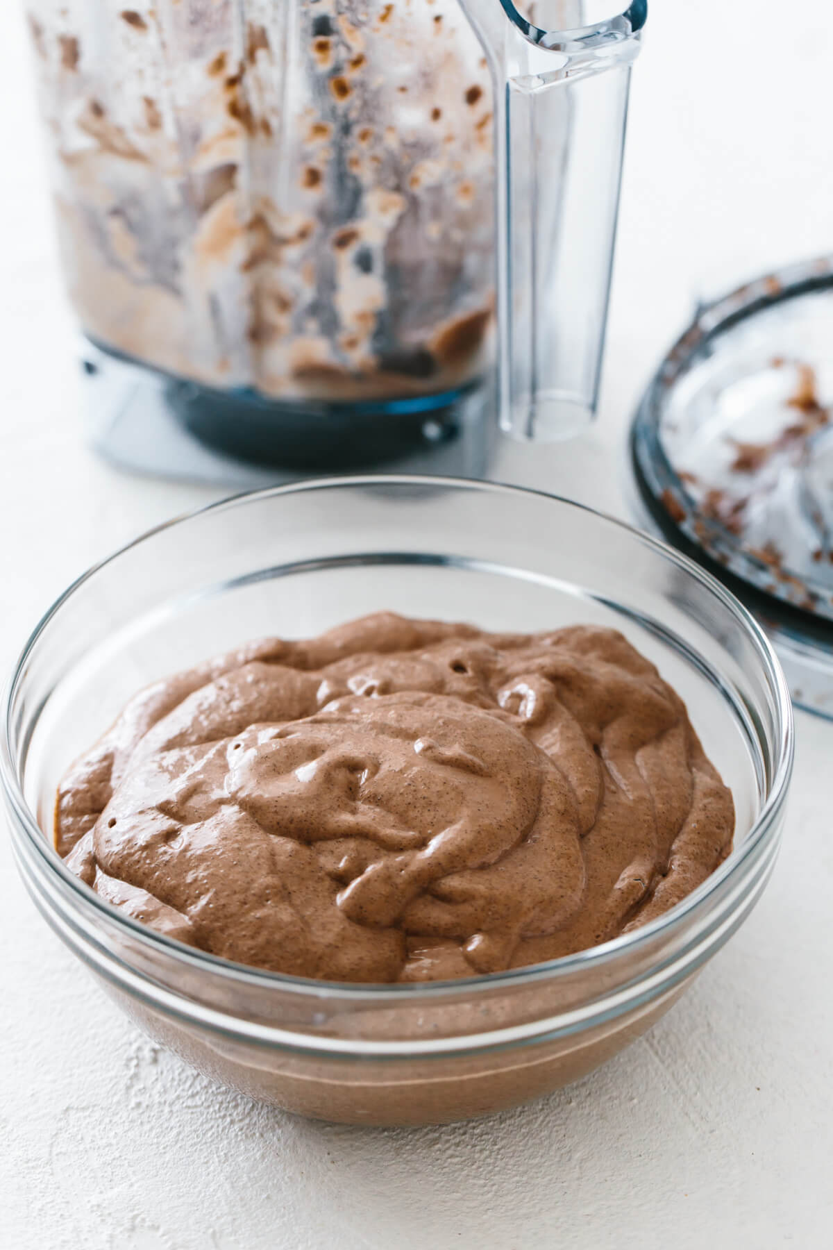 A large bowl of the chocolate chia mousse.