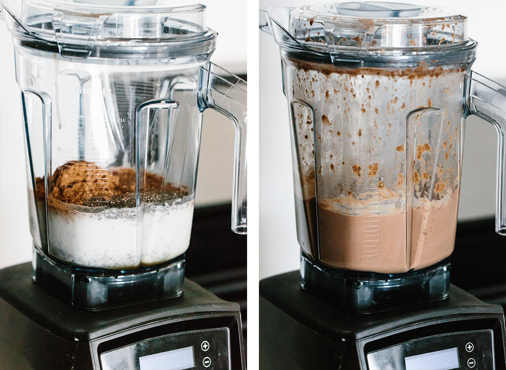 Making the mousse in a Vitamix blender.