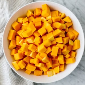 Bowl of cubed and cut butternut squash.