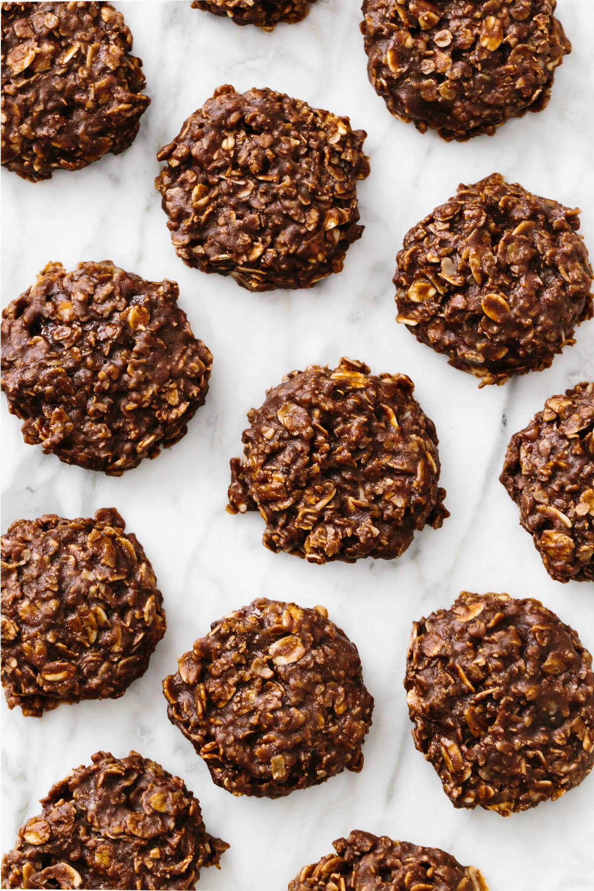 No bake cookies on a marble counter top.