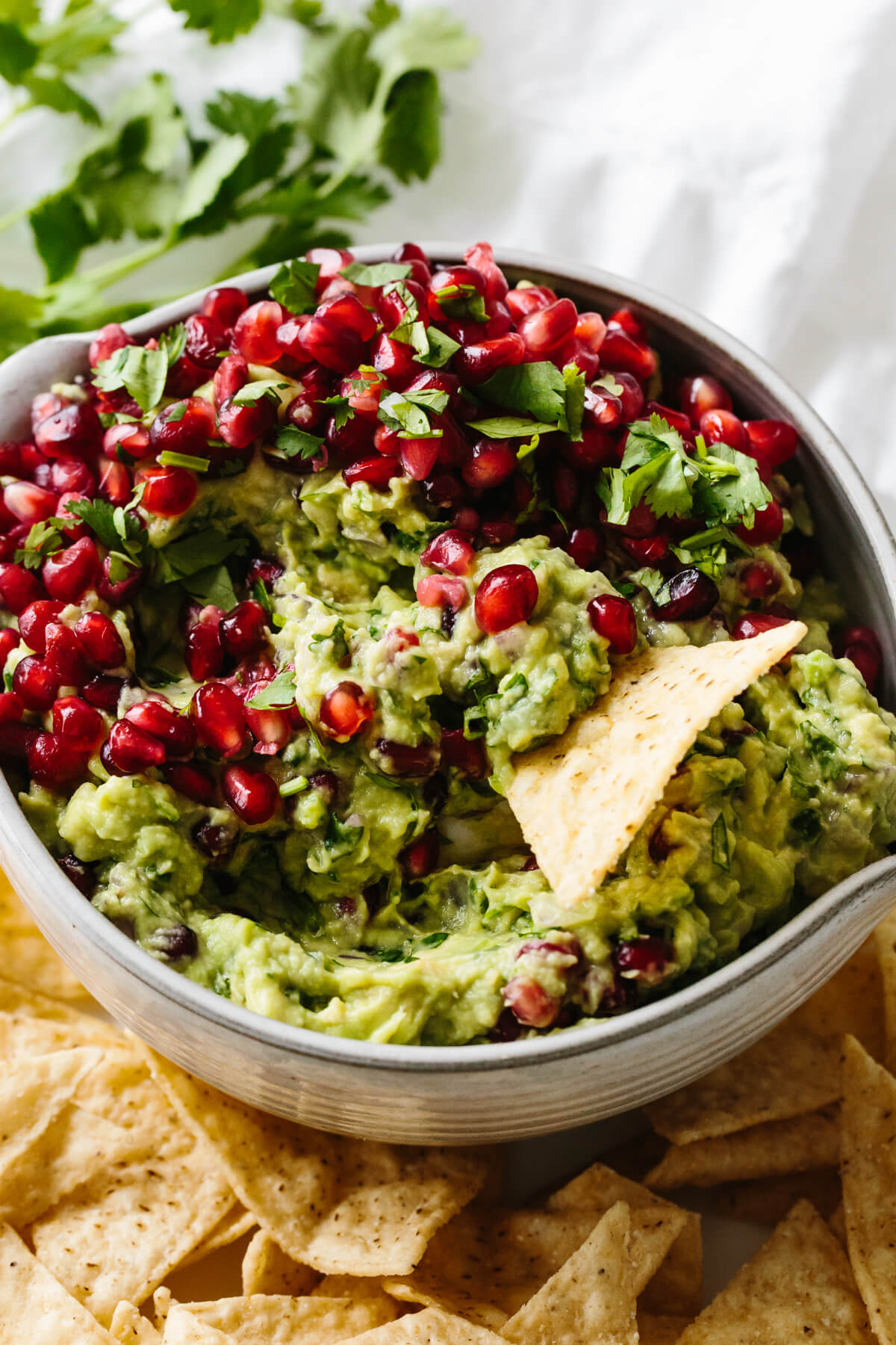 A tortilla chip scooping up pomegranate guacamole.