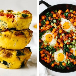 Whole30 breakfast recipes with egg muffins and sweet potato hash