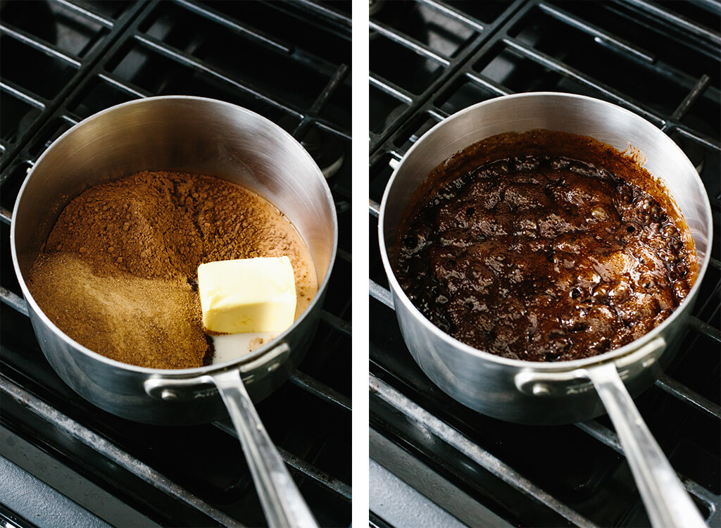 No bake cookie ingredients in a saucepan on the stove.