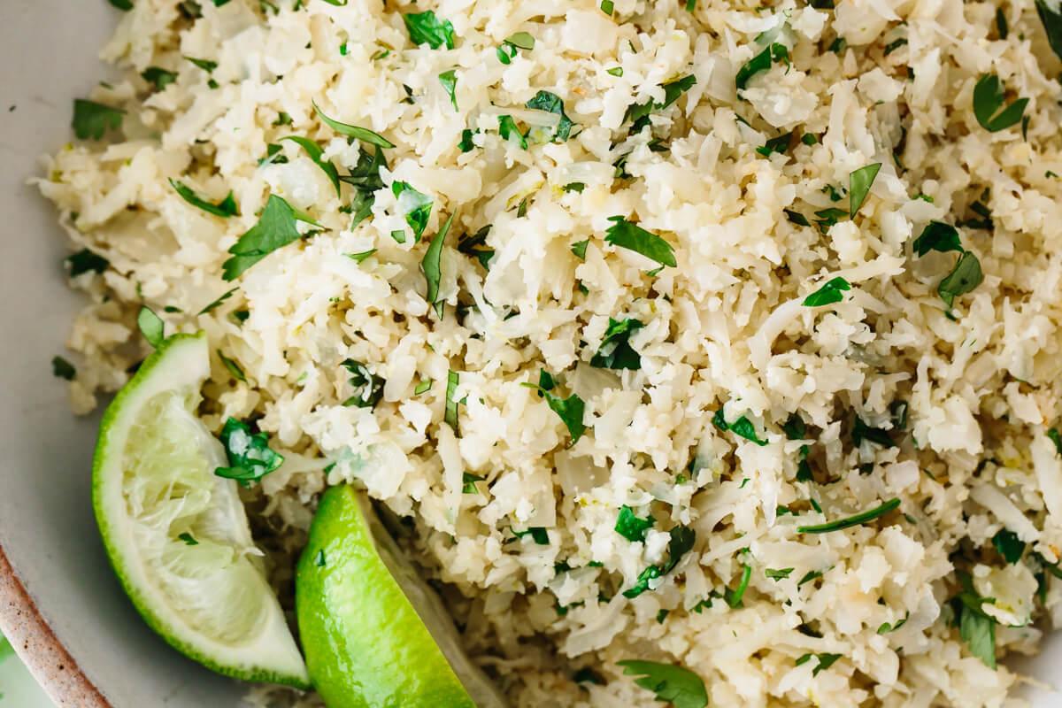 Cilantro lime cauliflower rice in a bowl.