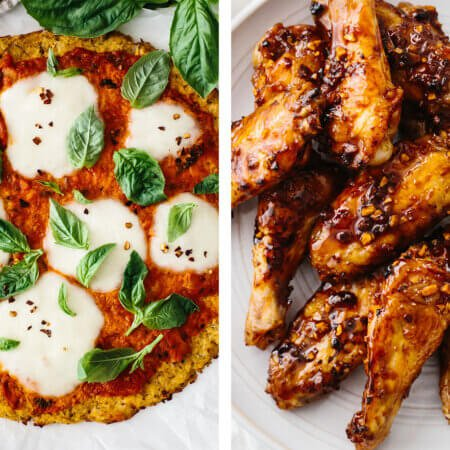Cauliflower pizza and chicken wings for Super Bowl food ideas.