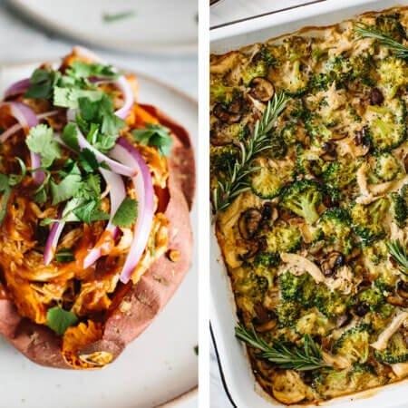 Whole30 dinner recipes with baked sweet potato and chicken casserole.