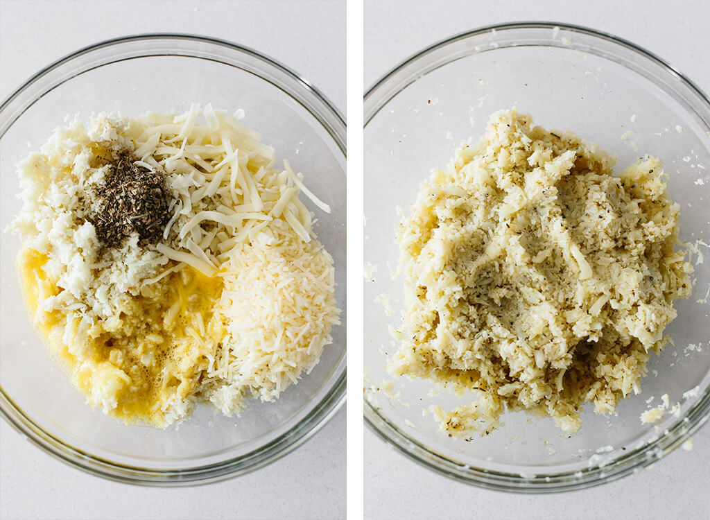 Cauliflower pizza crust ingredients in mixing bowl.