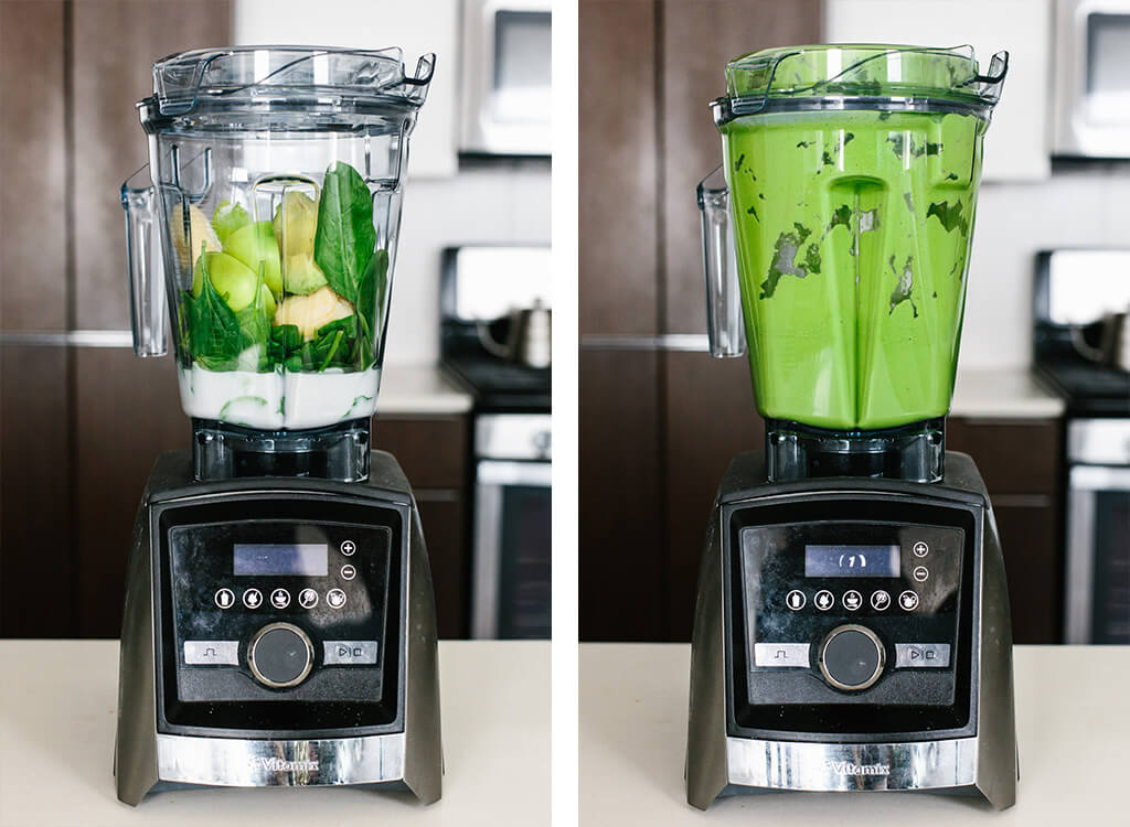 Making a green smoothie in a blender.
