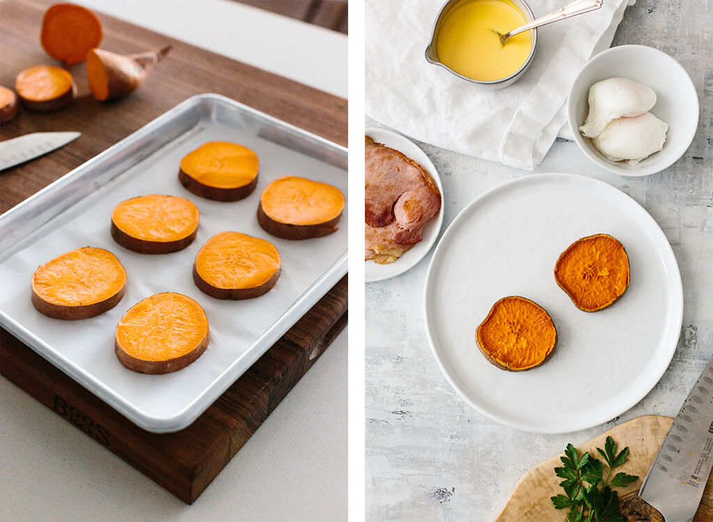 Making eggs benedict with sweet potato toast.