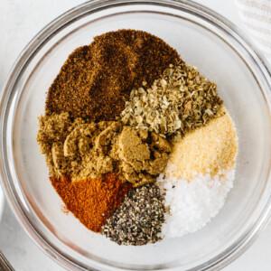 Fajita seasoning ingredients in a bowl.