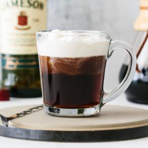 Irish Coffee on a serving plate.