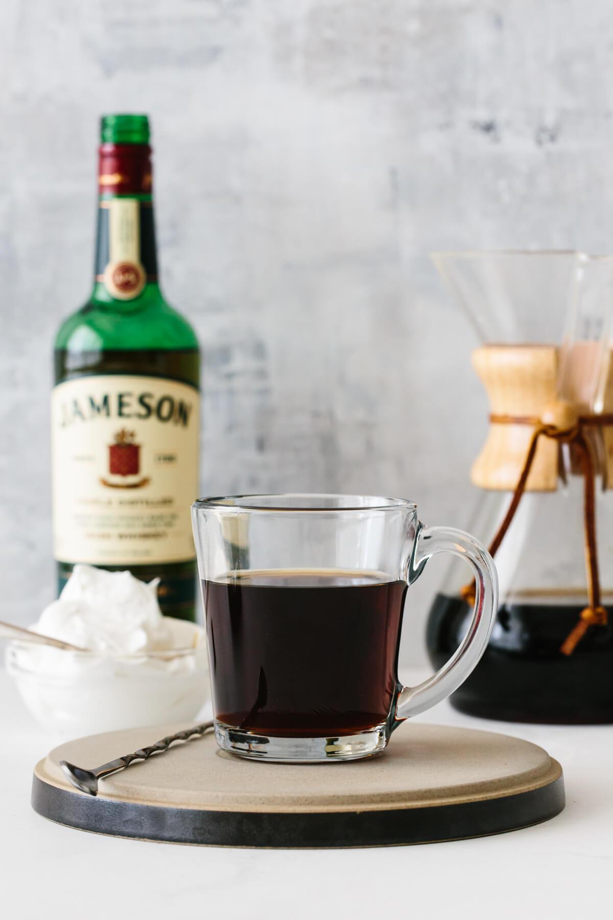 Making Irish Coffee on a table.