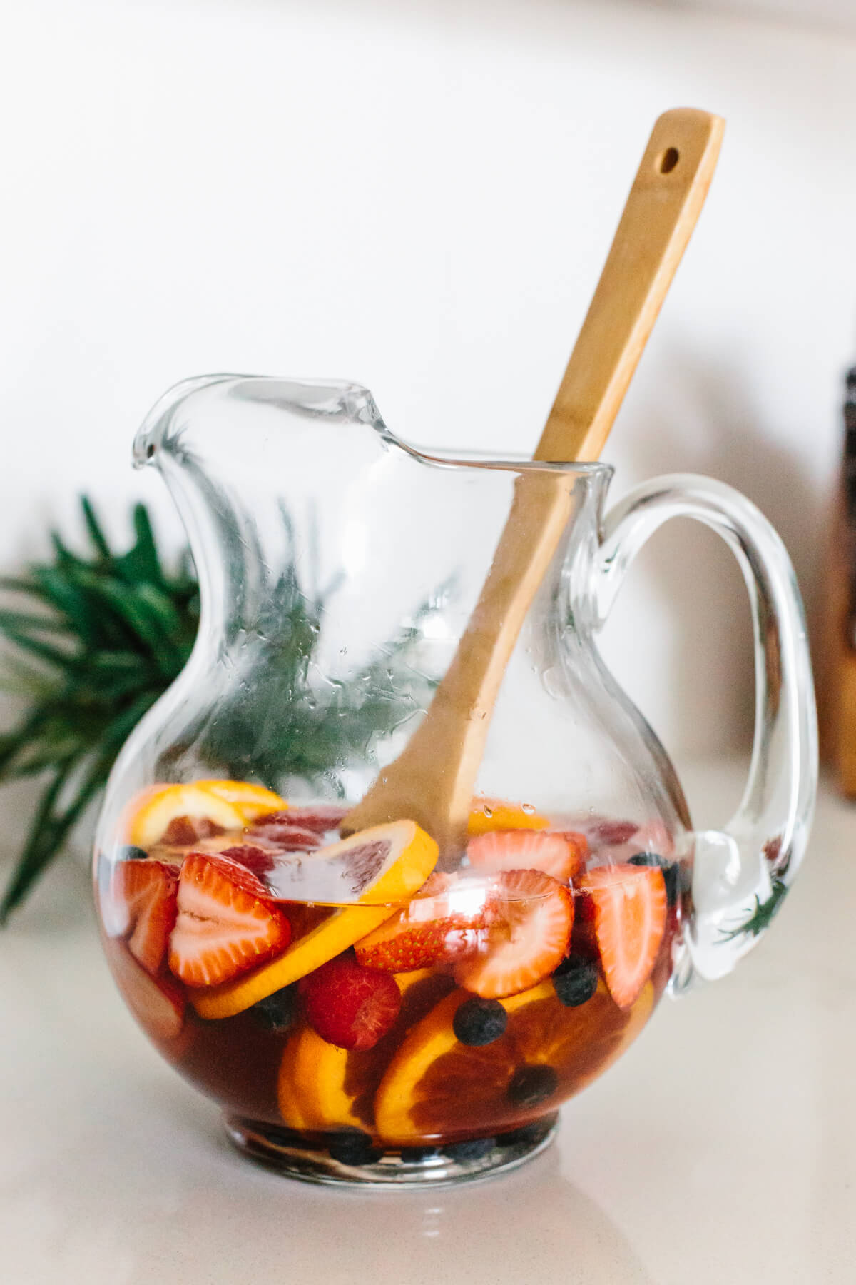 Pitcher of Moscato sangria.