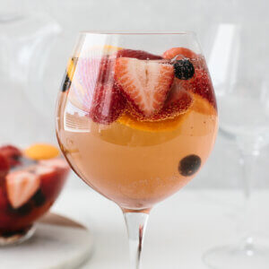 Moscato sangria in glass.