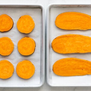 Sweet potato toast on a baking sheet.