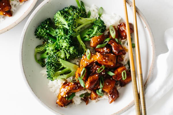 Finished teriyaki chicken in a bowl with rice and broccoli.