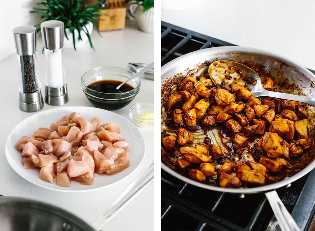 Making teriyaki chicken on the stove top.