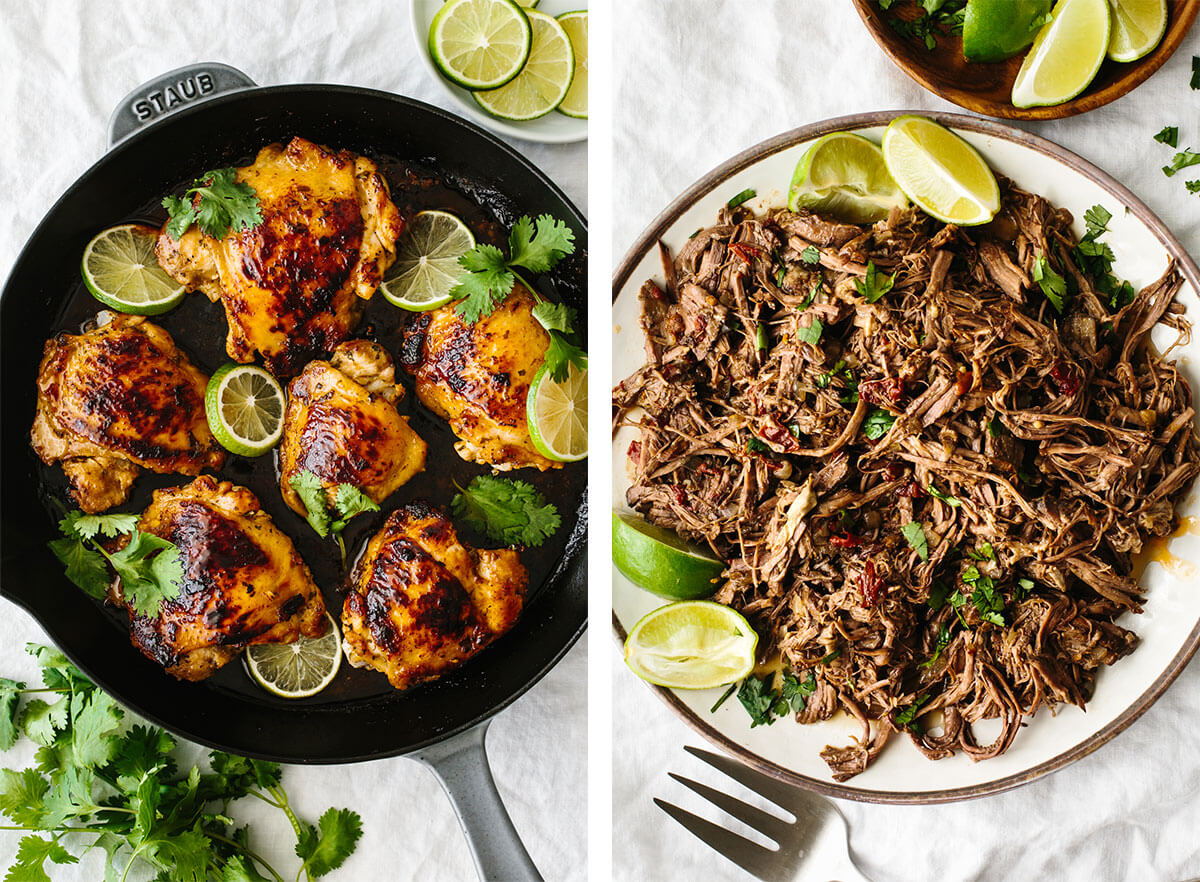 Barbacoa and cilantro lime chicken for Mexican recipes