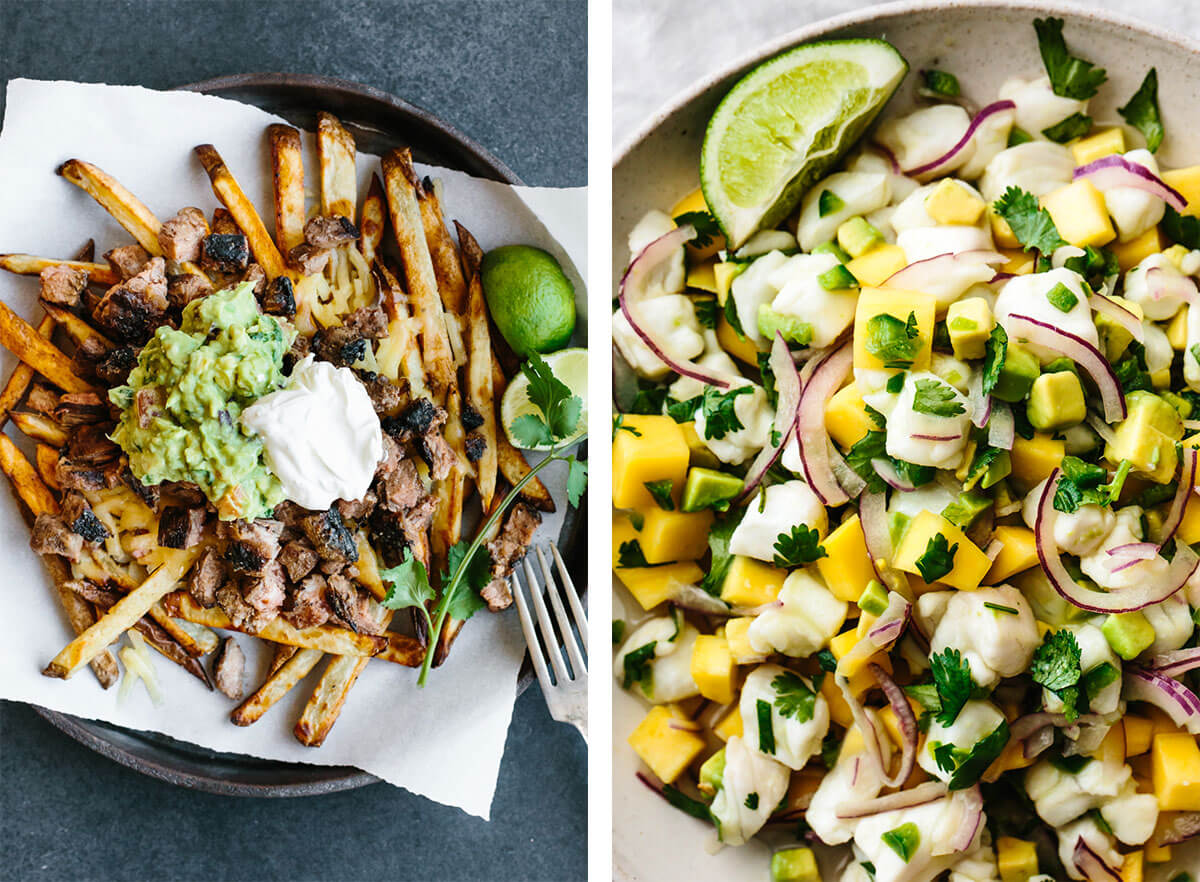 Mexican recipes with halibut ceviche and carne asada fries