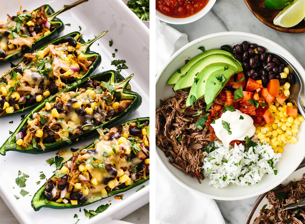 Mexican recipes with carnitas stuffed poblano peppers.