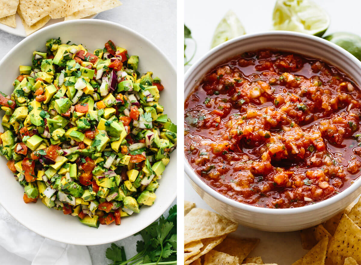 Guacamole and salsa for Mexican recipes
