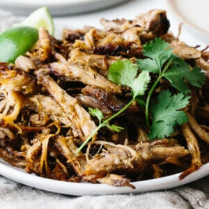 Carnitas on a serving plate.