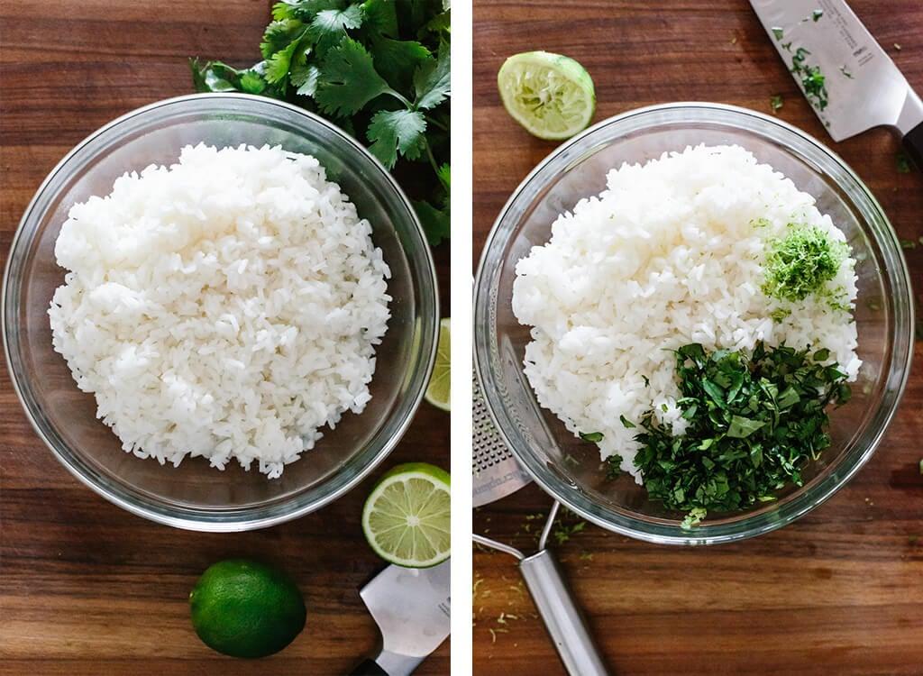 Making cilantro lime rice.
