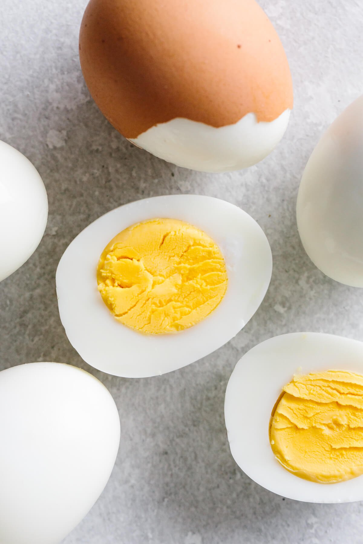 Hard boiled eggs on the counter.