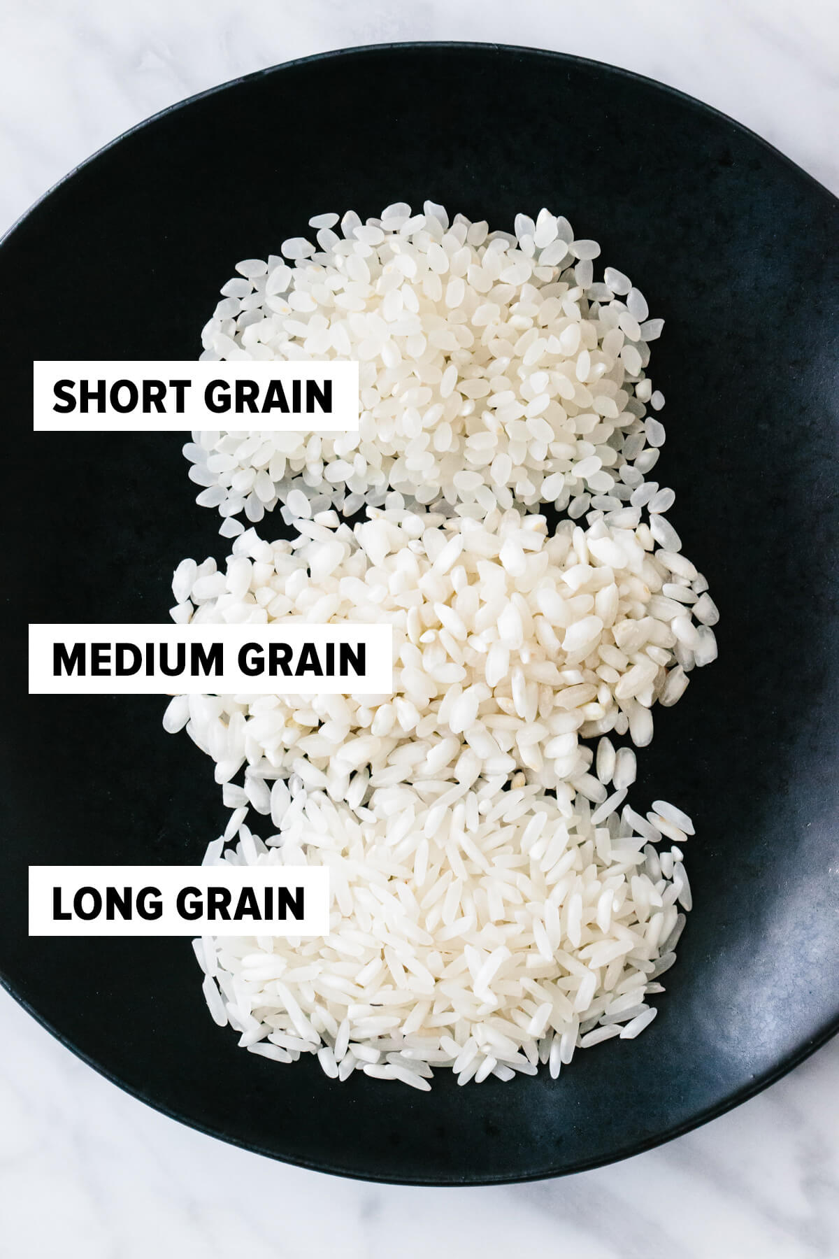 Short grain, medium grain and long grain rice on a plate.