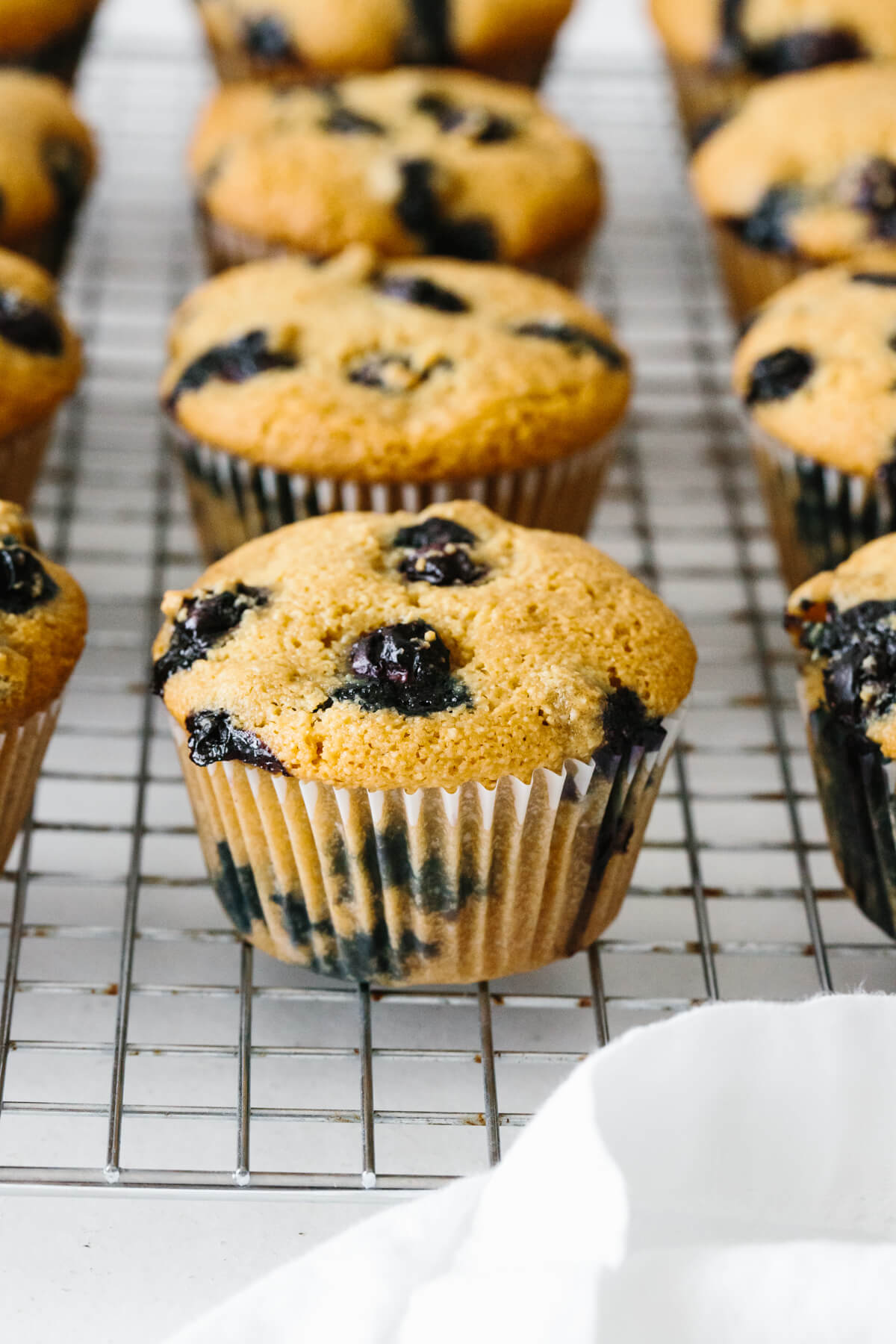 Paleo blueberry muffins on a cooling rack.