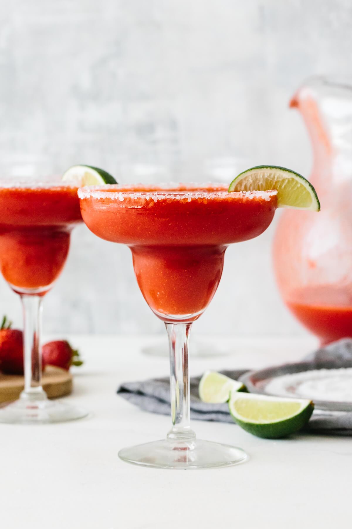 Strawberry margarita in a glass.