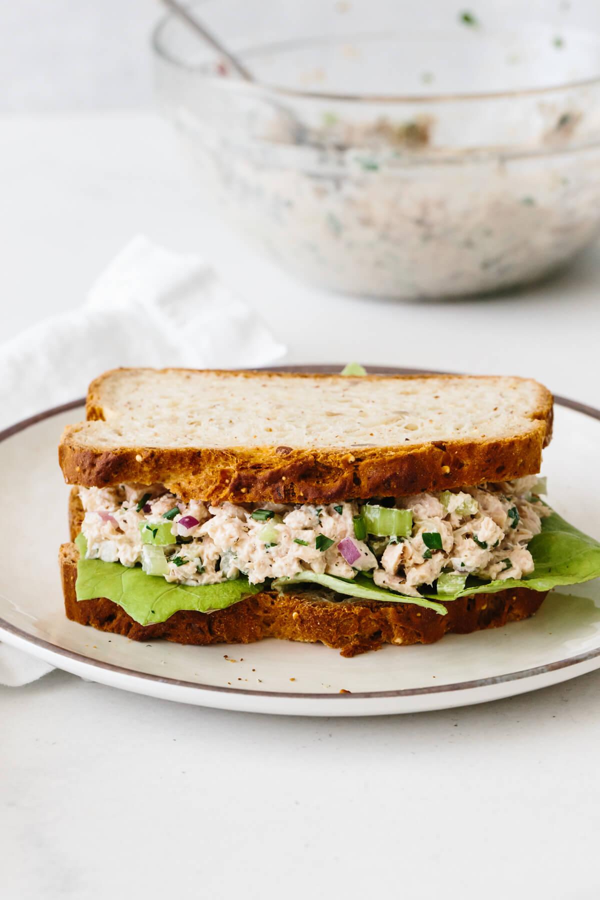 Tuna salad sandwich on a plate.