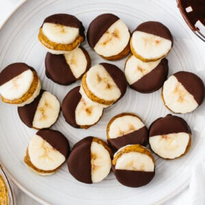 A plate of chocolate almond butter banana bites.