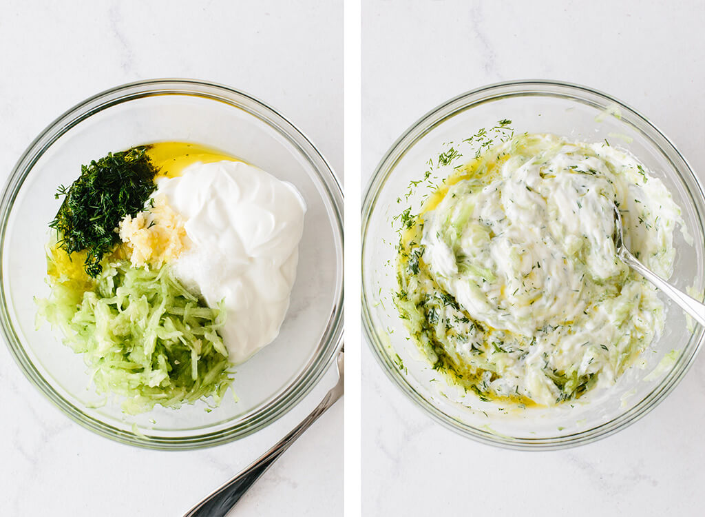 Tzatziki ingredients in a bowl and then stirred together.