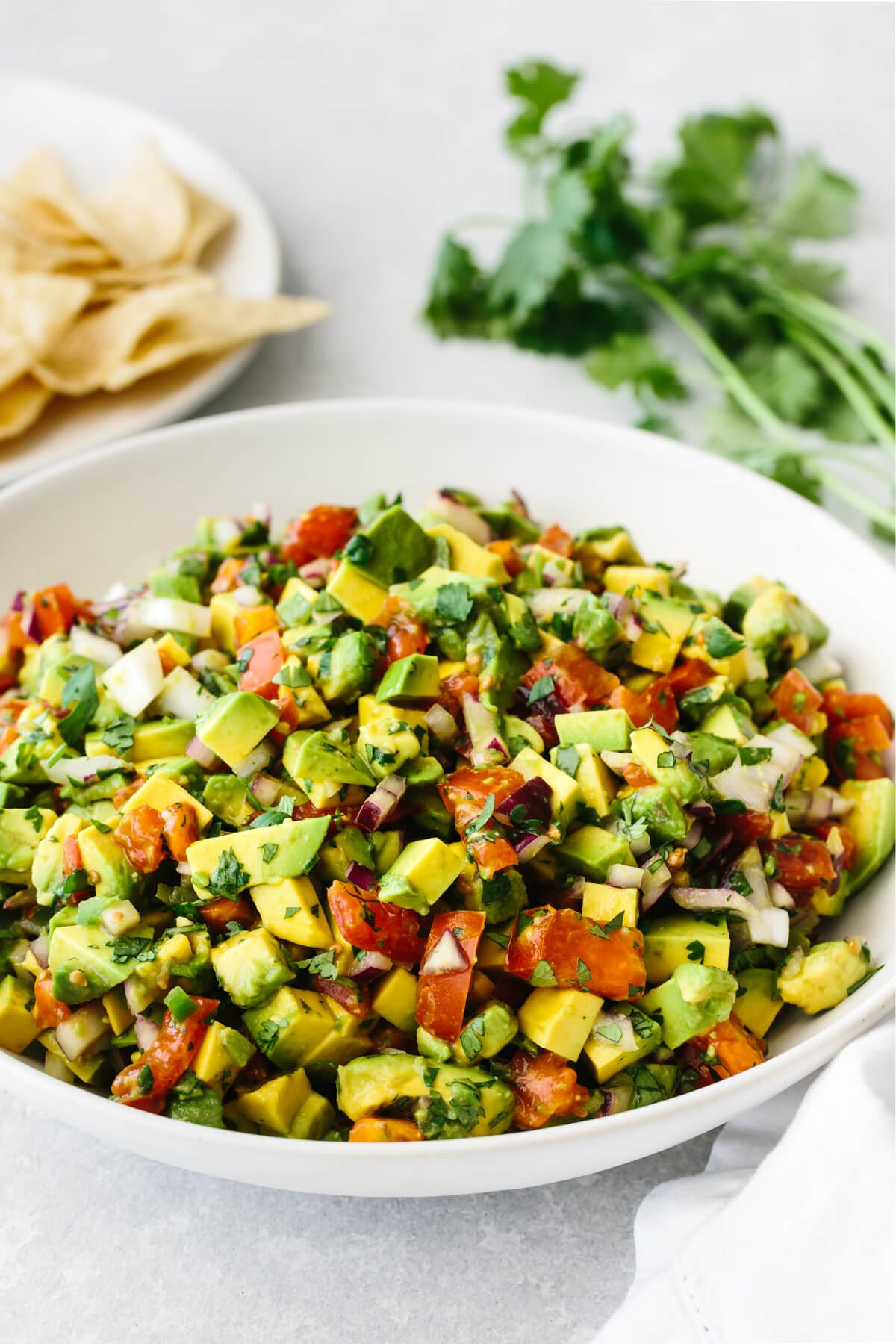 Avocado salsa in a presentation bowl next to tortilla chips and fresh cilantro.