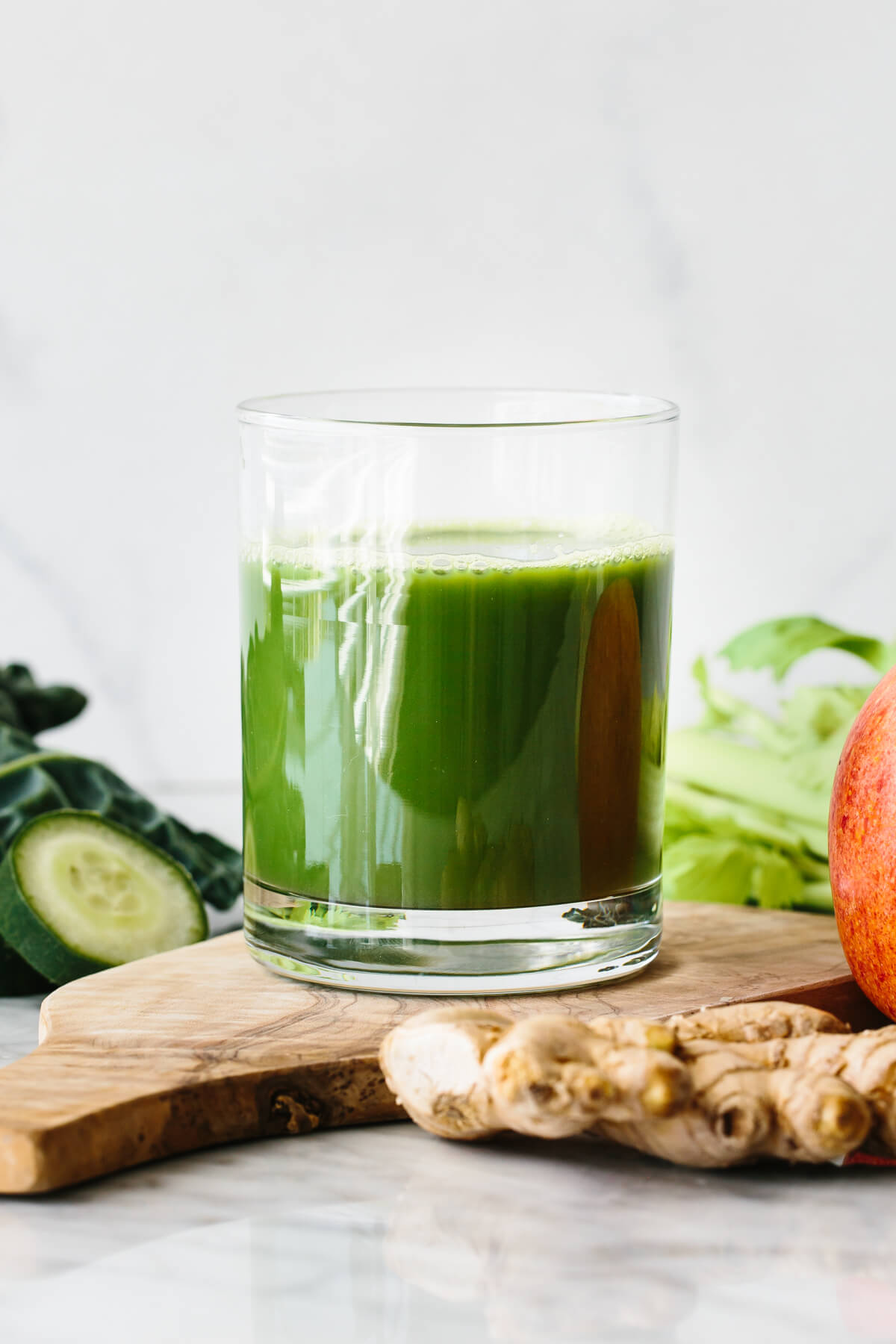 A glass of green juice