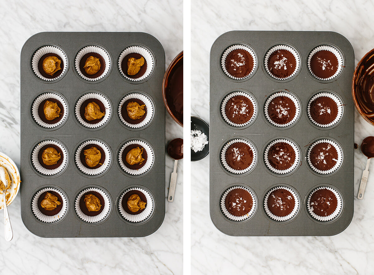 Almond butter being added to almond butter cups in muffin tins.