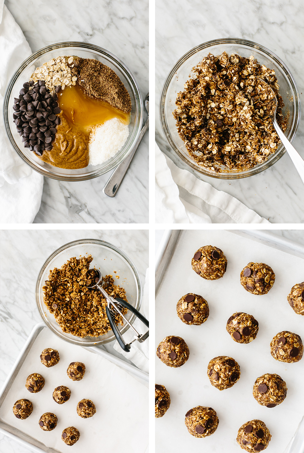 Mixing ingredients and making no bake chocolate chip energy balls.