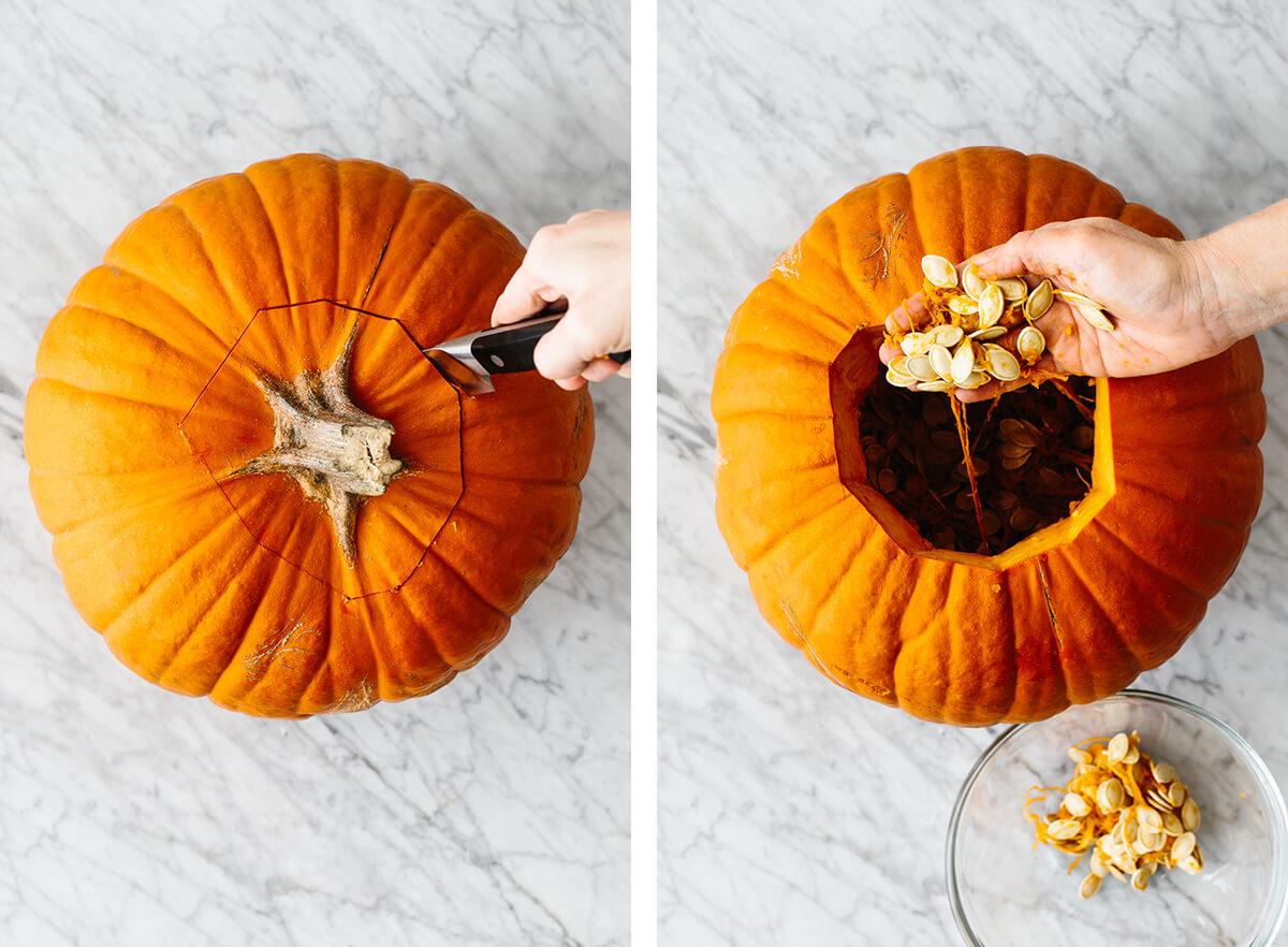 Pumpkin being carved open for roasted pumpkin seeds.