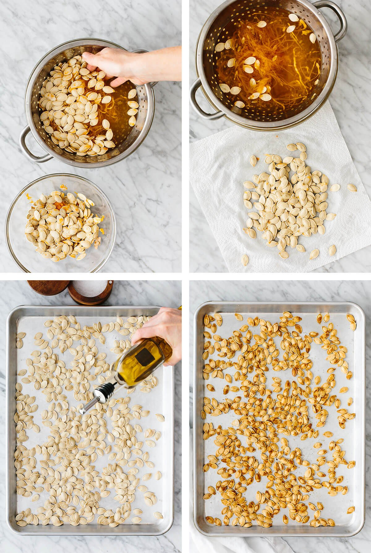 Process of cleaning and roasting pumpkin seeds on a baking sheet.