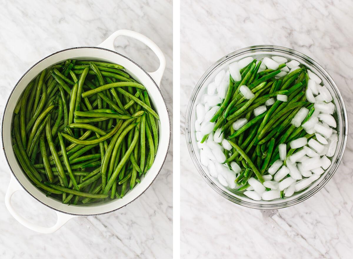 Green beans being blanced for green bean casserole.